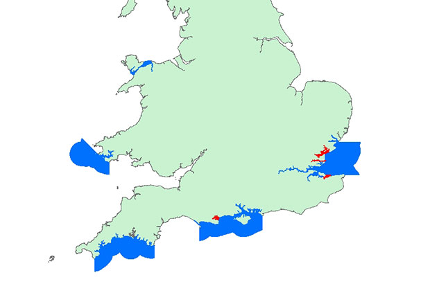 Map of shellfish diseases in England and Wales