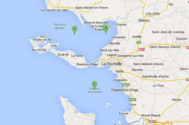 Map of mussel mortalities in France