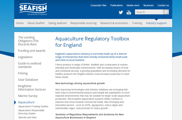 SEAFISH webpage showing the aquaculture toolkit