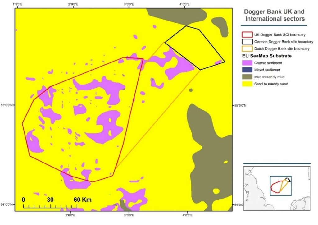 Dogger Bank Natura 2000 MPA Site, showing national boundaries of responsibility