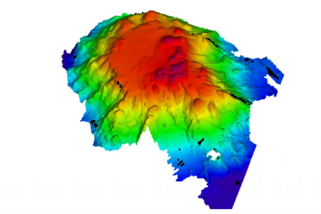 a computer generated map of an underwater mountain