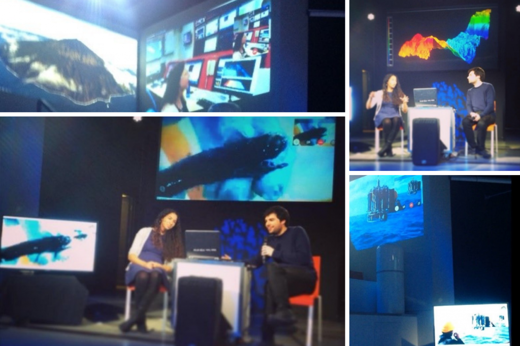 Top left: live link up to scientists looking at underwater maps, bottom right the presenters looking at the live link up showing a fish, top right presenters explaining the underwater mapping data, bottom right a photo the live link up on the ship