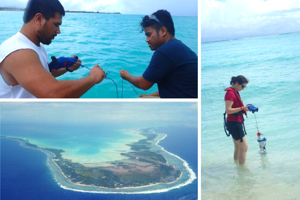 top left two people gathering water samples, bottom left aerial shot of atoll, right woman collecting water samples