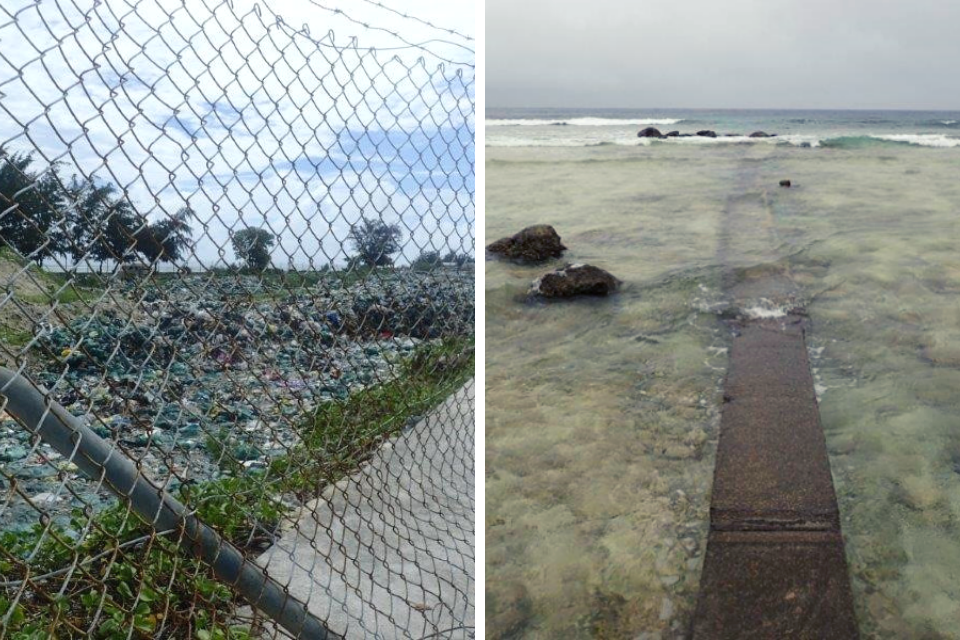 left landfill and right sewage outflow into sea