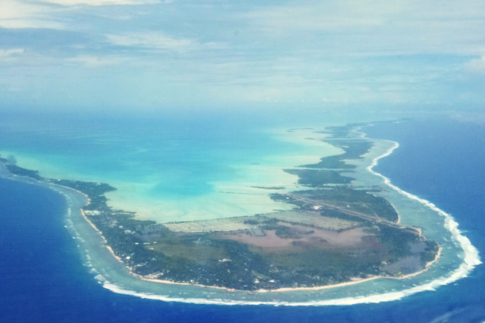 aerial shot of Tarawa Atoll
