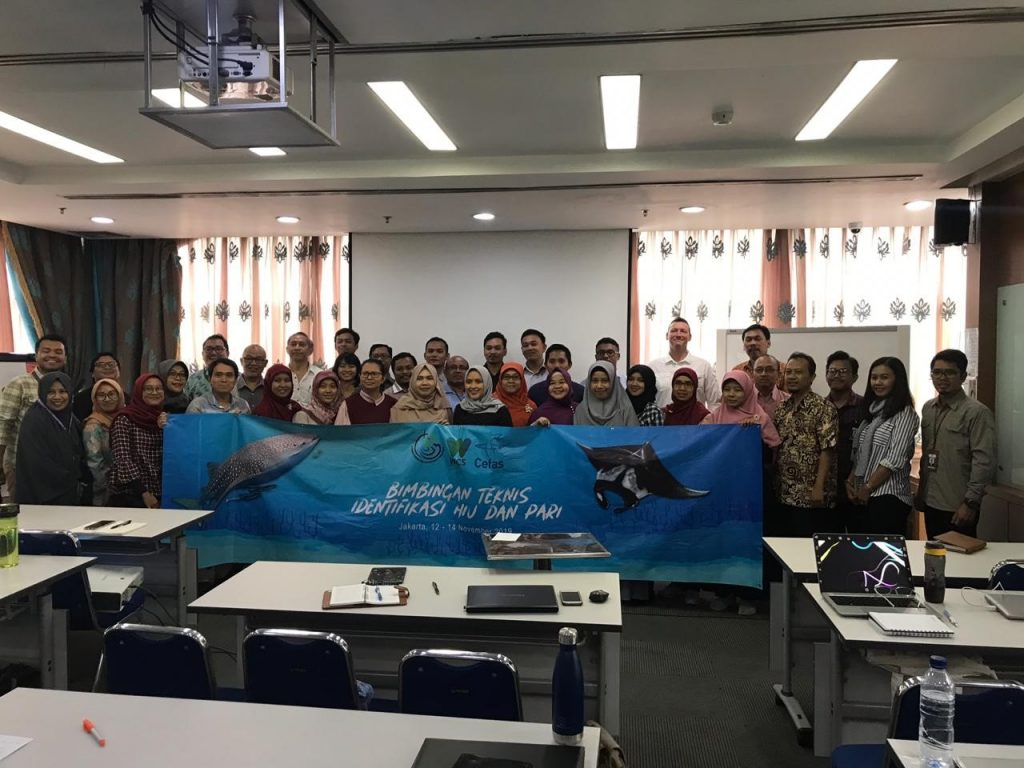 people in a classroom holding a banner showing ray and shark species