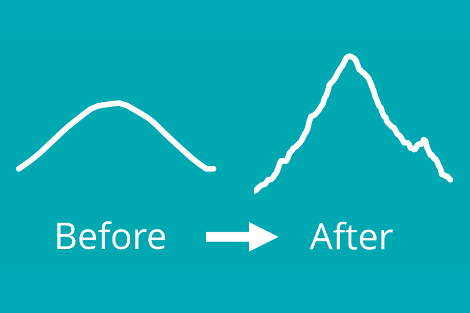 before and after side profile of mountains on blue background
