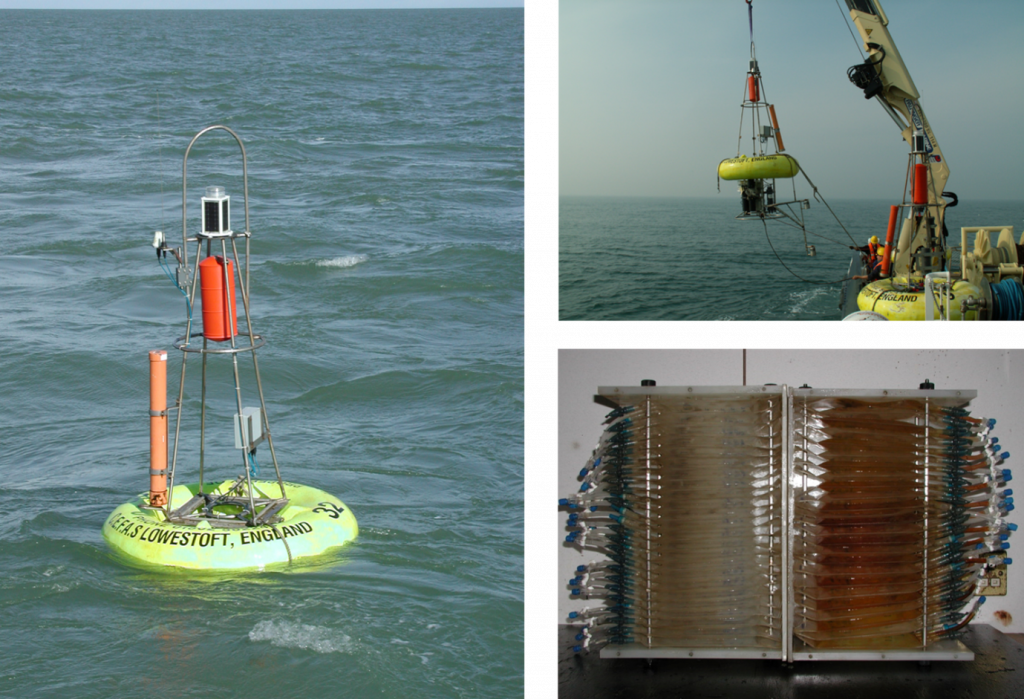 Smartbuoy at sea and plankton sampling equipment